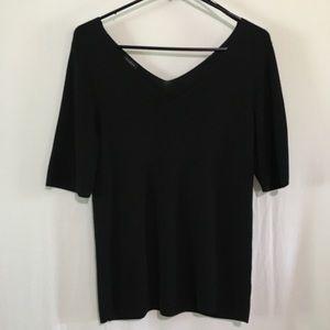 🛍💰Talbots Black V-Neck Front/Back Shirt